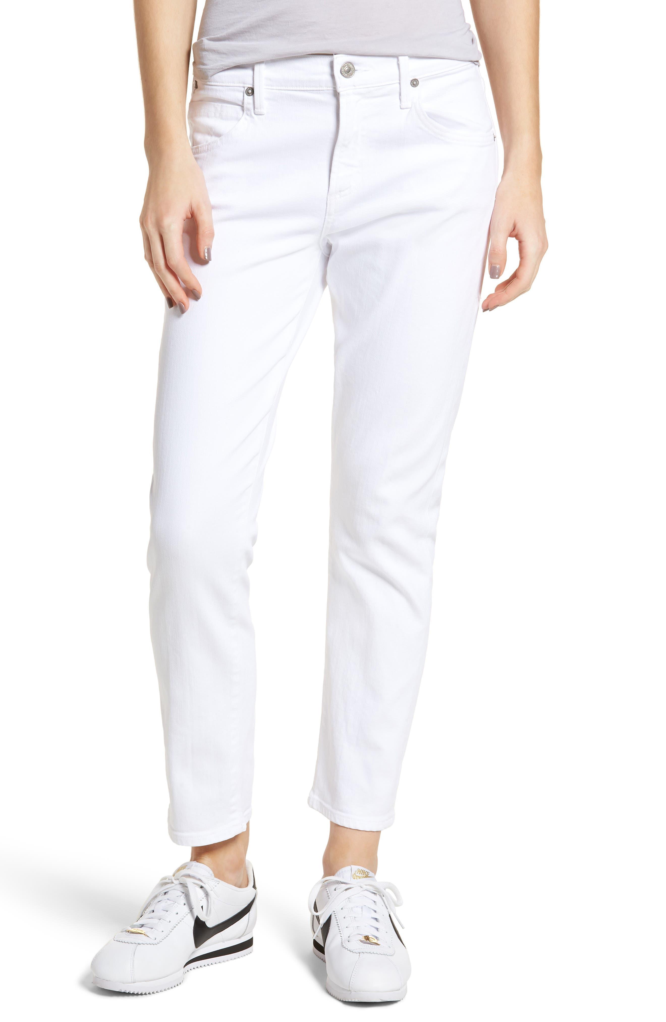 Elsa Crop Slim Jeans, Main, color, OPTIC WHITE