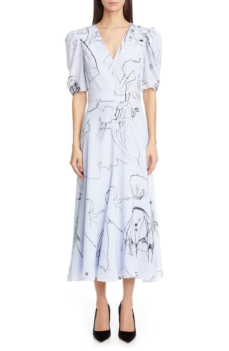 ALEXANDER MCQUEEN Dancing Girls Puff Sleeve Silk Crêpe de Chine Midi Dress, Main, color, LILAC-WHITE