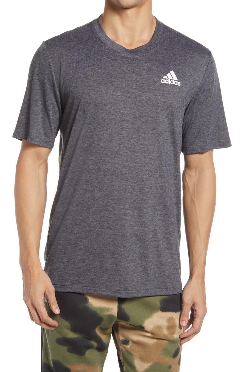 ADIDAS Men's Logo T-Shirt, Main, color, BLACK MELANGE/ WHITE
