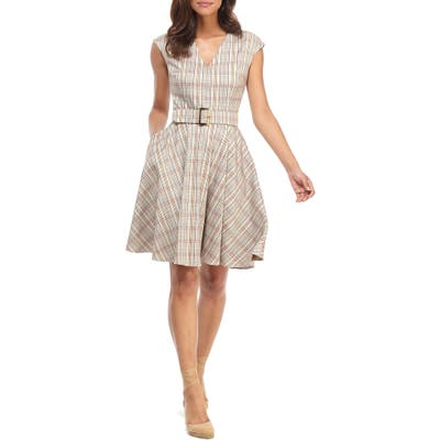 Gal Meets Glam Collection Kelly Plaid Belted Fit & Flare Dress, Beige