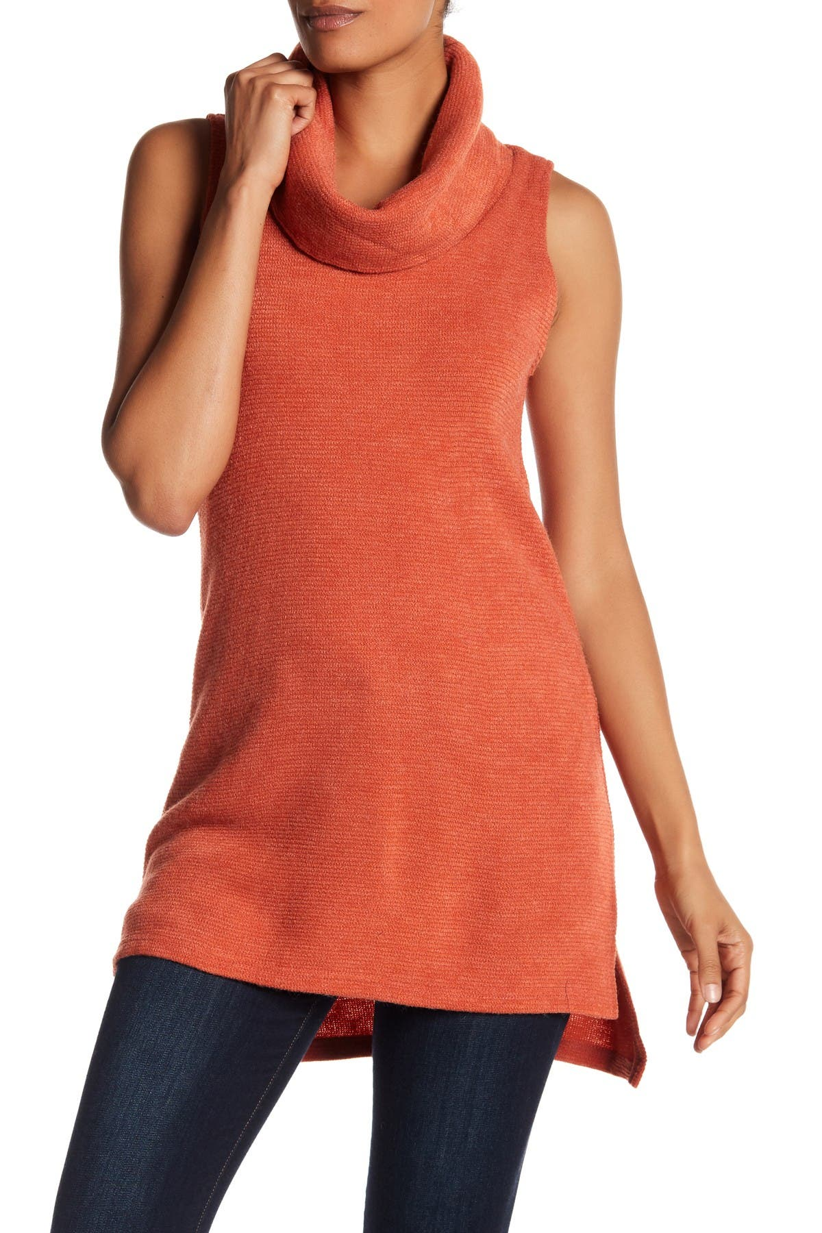 Image of Papillon Cowl Neck Sleeveless Hi-Low Sweater