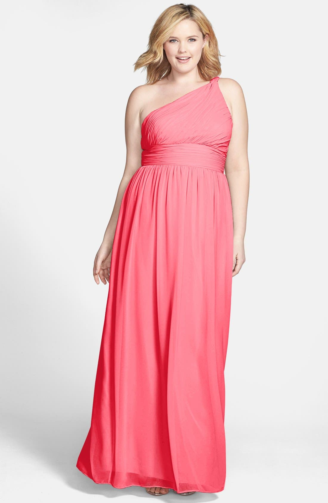,                             'Rachel' Ruched One-Shoulder Chiffon Gown,                             Alternate thumbnail 135, color,                             805