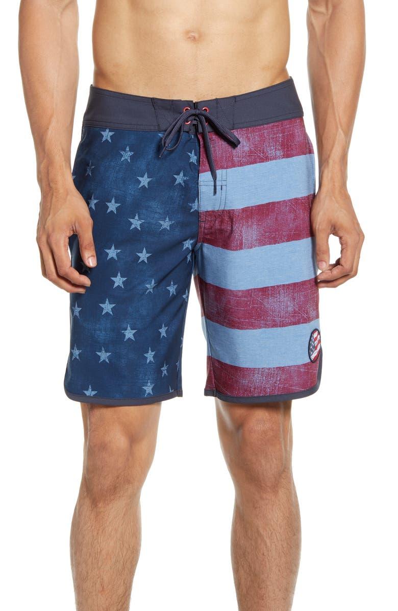 TRAVISMATHEW Wing It Board Shorts, Main, color, BLUE NIGHTS