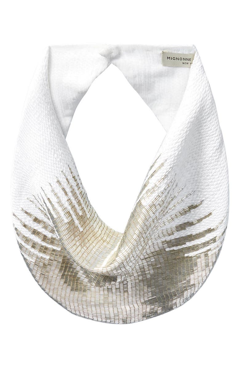 MIGNONNE GAVIGAN Heidi Beaded Scarf Necklace, Main, color, WHITE