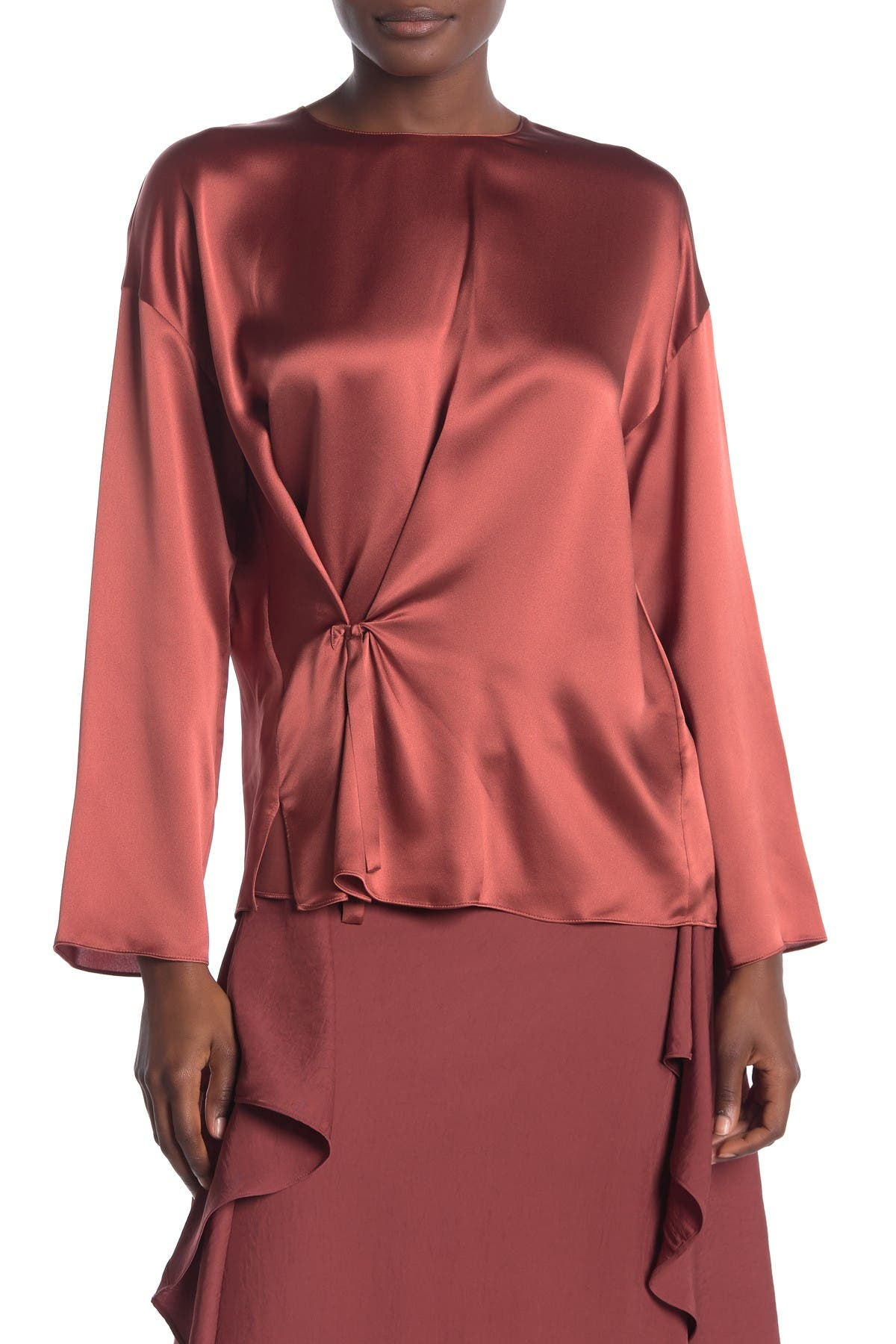 Image of Vince Knot Front Silk Blouse