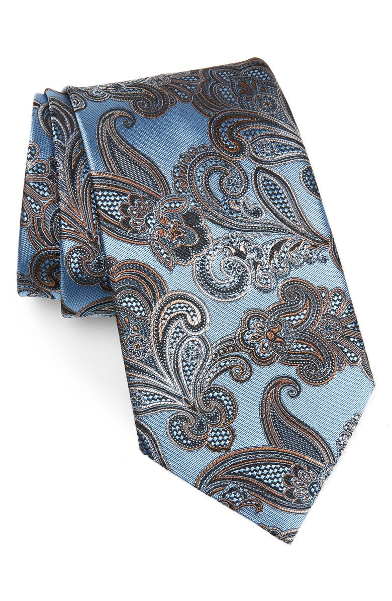 ERMENEGILDO ZEGNA Paisley Silk Tie, Main, color, BLUE
