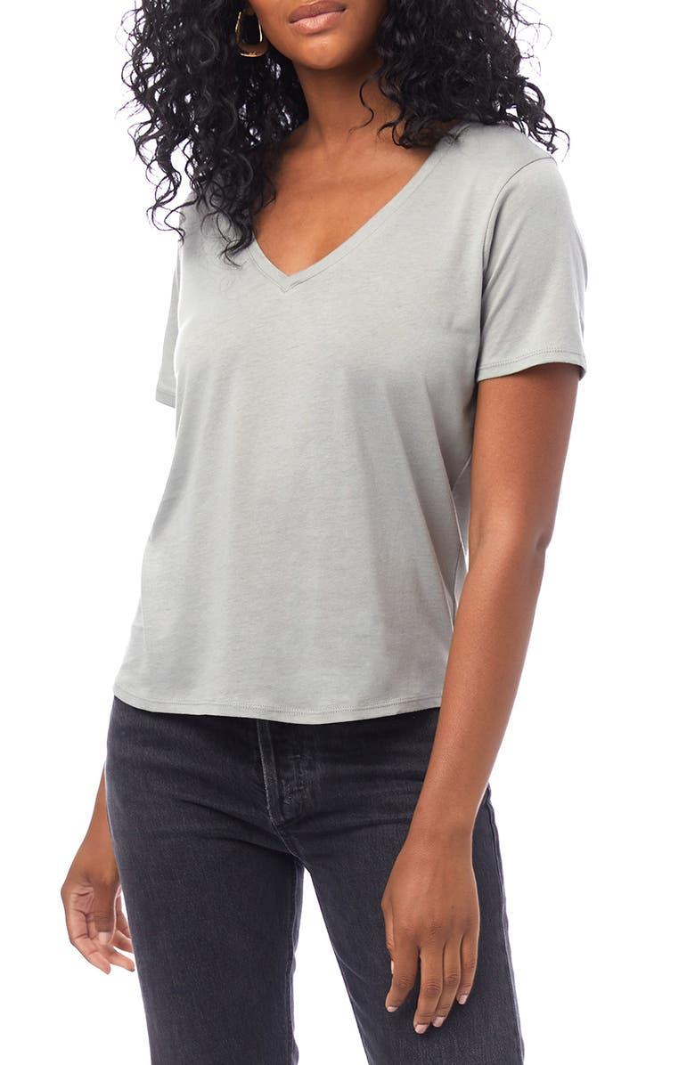 ALTERNATIVE Organic Cotton V-Neck T-Shirt, Main, color, EARTH GREY