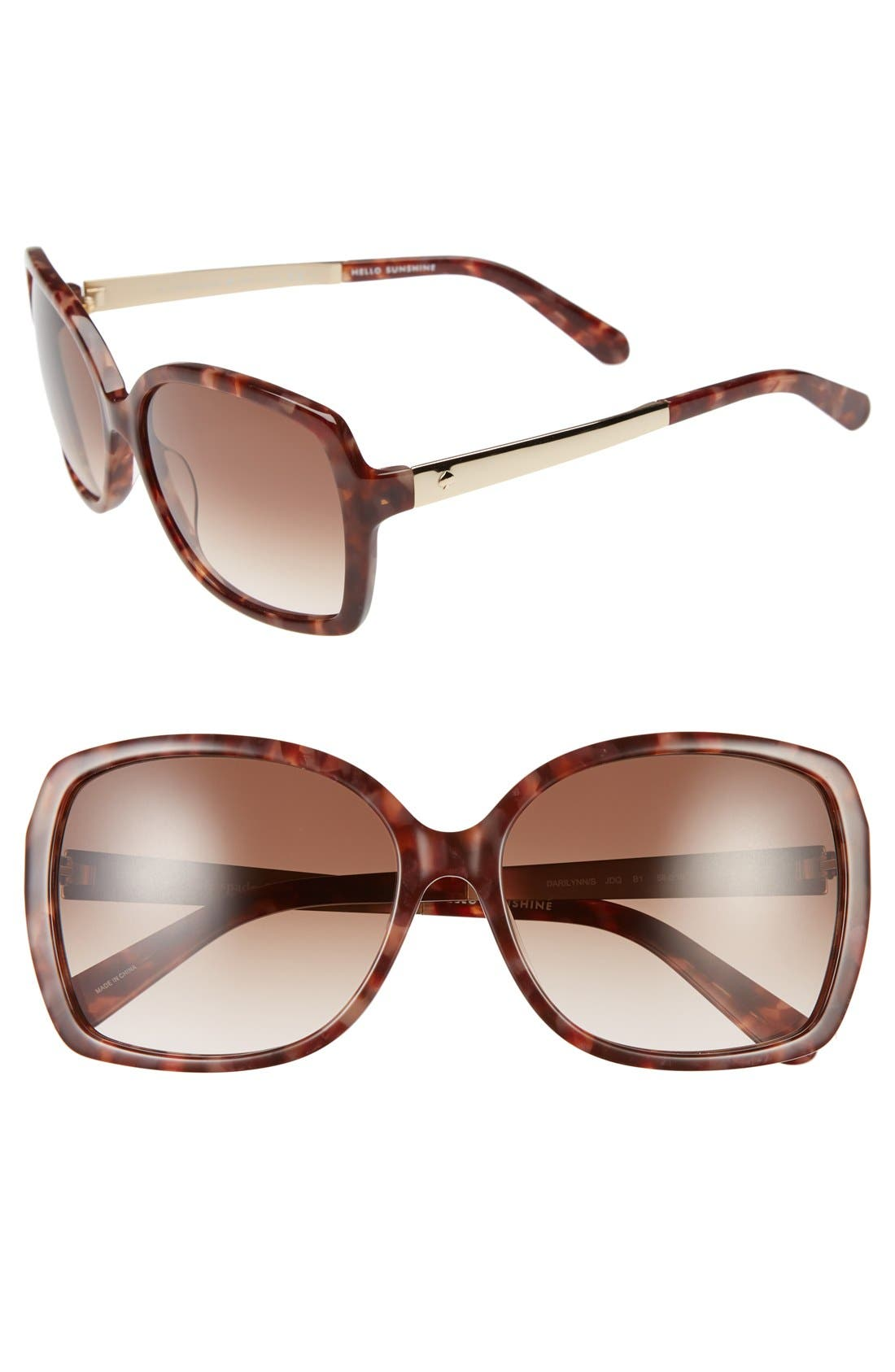 Image of kate spade new york darrilyn 58mm butterfly sunglasses