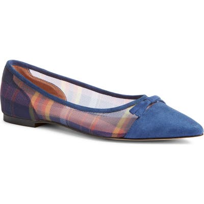 Halogen X Atlantic-Pacific Sadee Pointed Toe Flat, Blue (Nordstrom Exclusive)