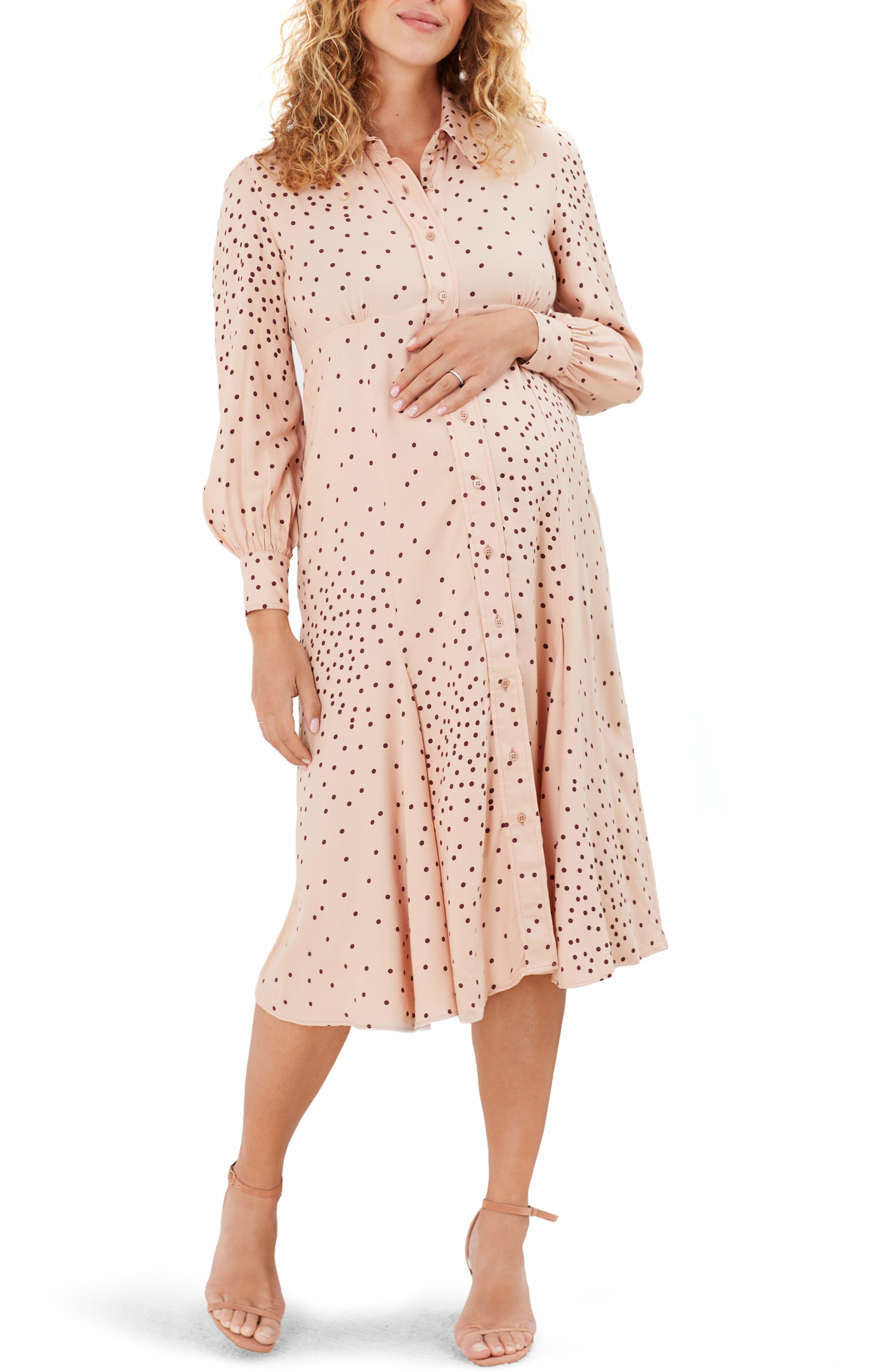 Juniper Dot Long Sleeve Maternity Midi Shirtdress