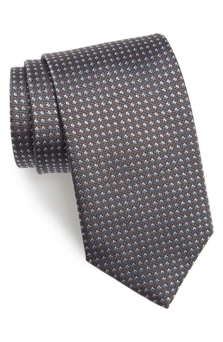 DAVID DONAHUE Geometric Dot Silk Tie, Main, color, CHARCOAL