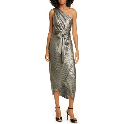 Ted Baker London Gabria One-Shoulder Midi Cocktail Dress, (fits like 4-6 US) - Metallic