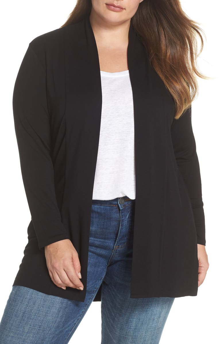 VINCE CAMUTO Open Front Cardigan, Main, color, RICH BLACK
