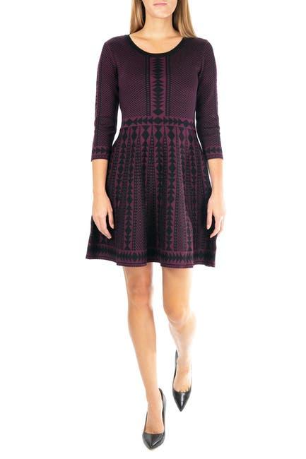 Image of Nina Leonard Geometric Print 3/4 Sleeve Sweater Dress
