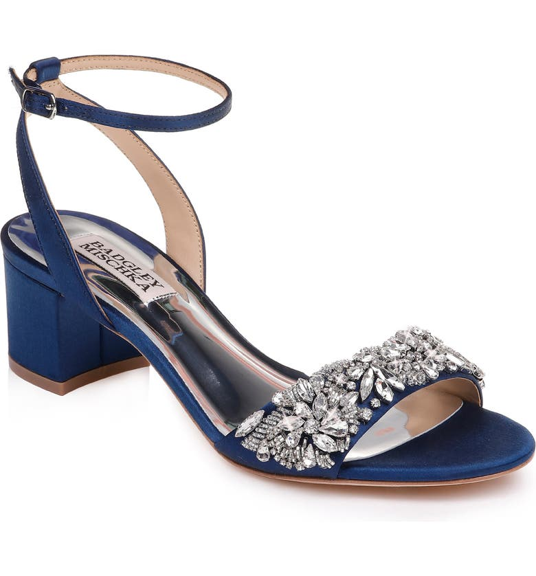 BADGLEY MISCHKA COLLECTION Badgley Mischka Ivanna Ankle Strap Sandal, Main, color, NAVY SATIN