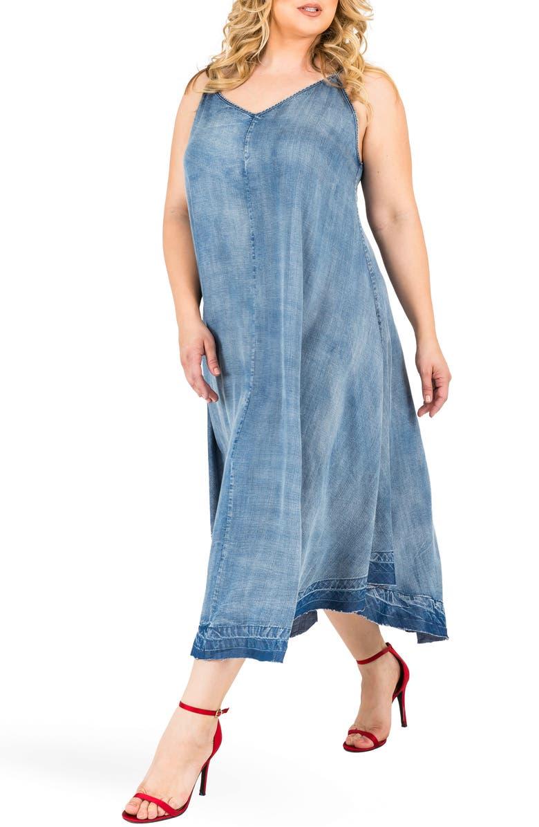 STANDARDS & PRACTICES Taylor Tank Denim Midi Dress, Main, color, MEDIUM BLUE