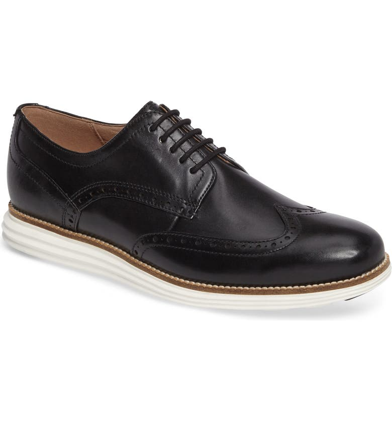 COLE HAAN Original Grand Wingtip Derby, Main, color, BLACK/ WHITE LEATHER