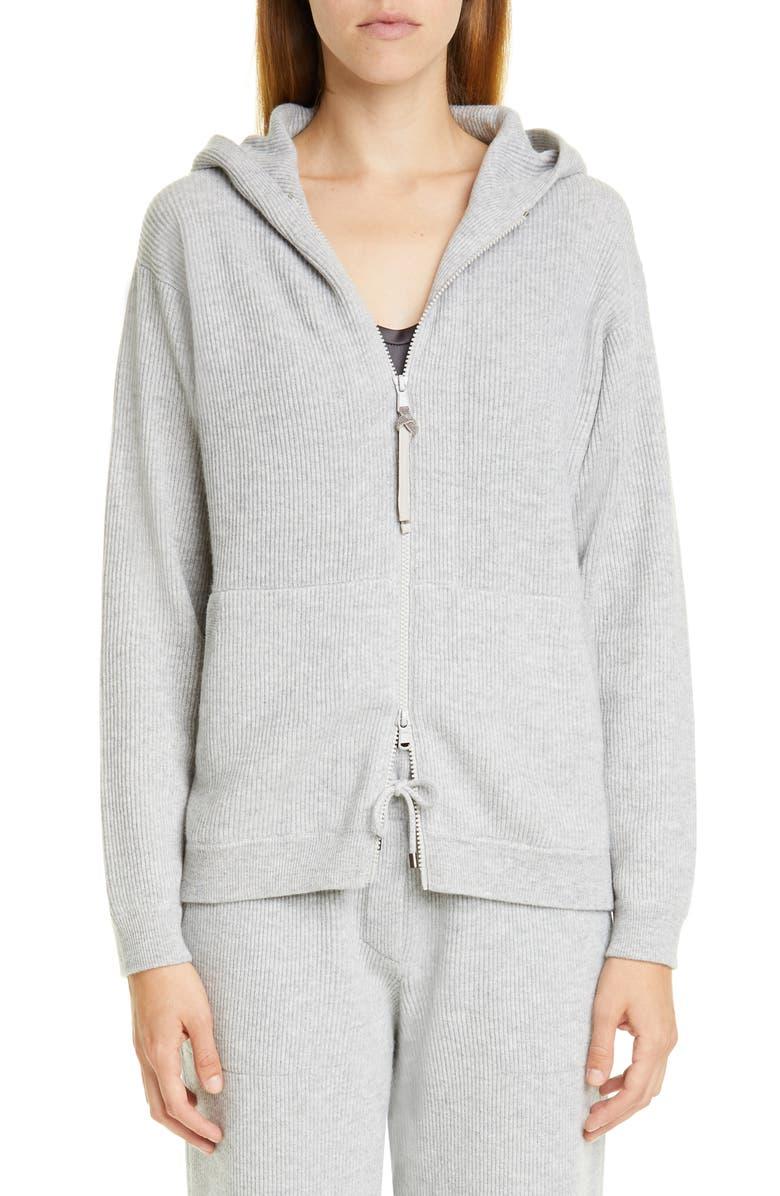BRUNELLO CUCINELLI Hooded Rib Cashmere Sweater, Main, color, PEBBLE