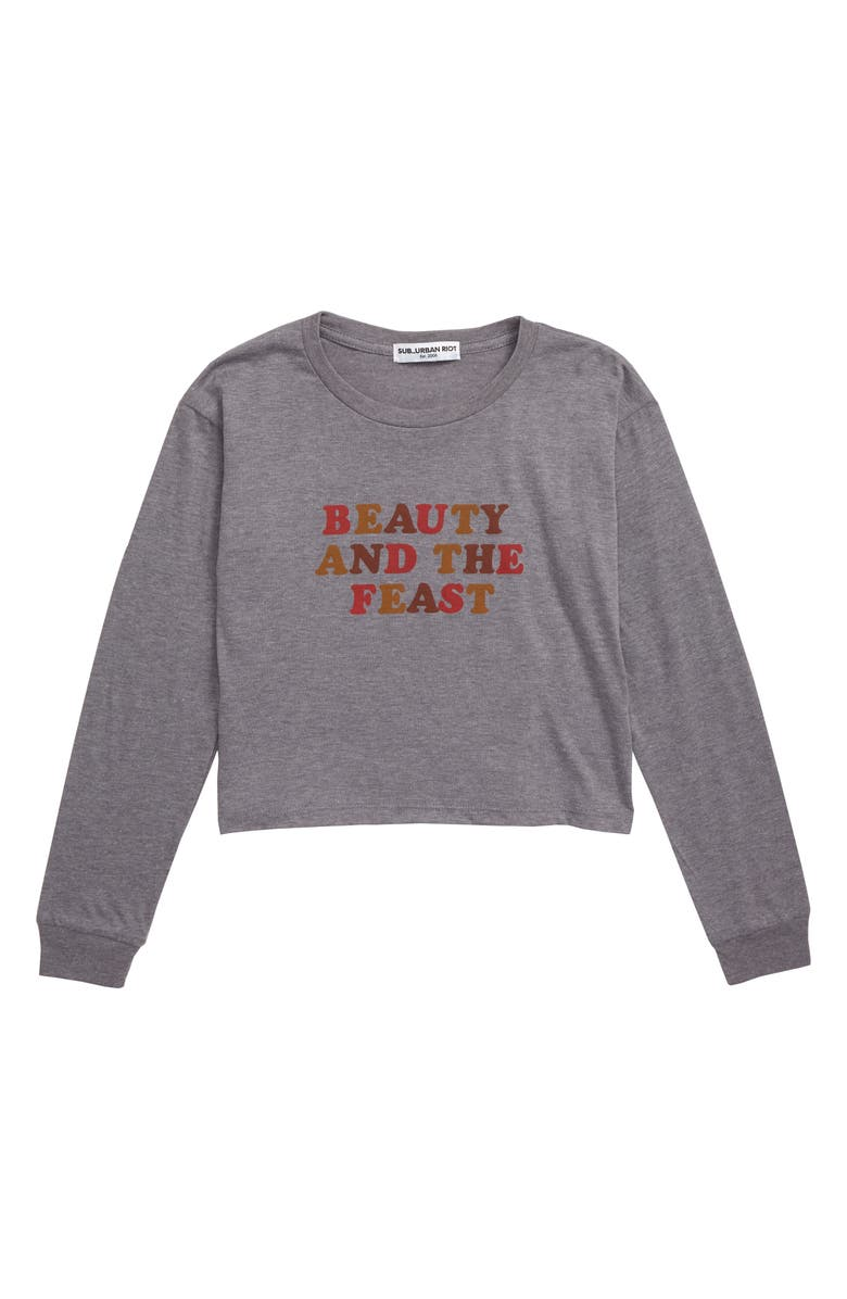 SUB_URBAN RIOT Beauty and the Feast Sweatshirt, Main, color, HEATHER GRAY/ MULTI GRAPHIC