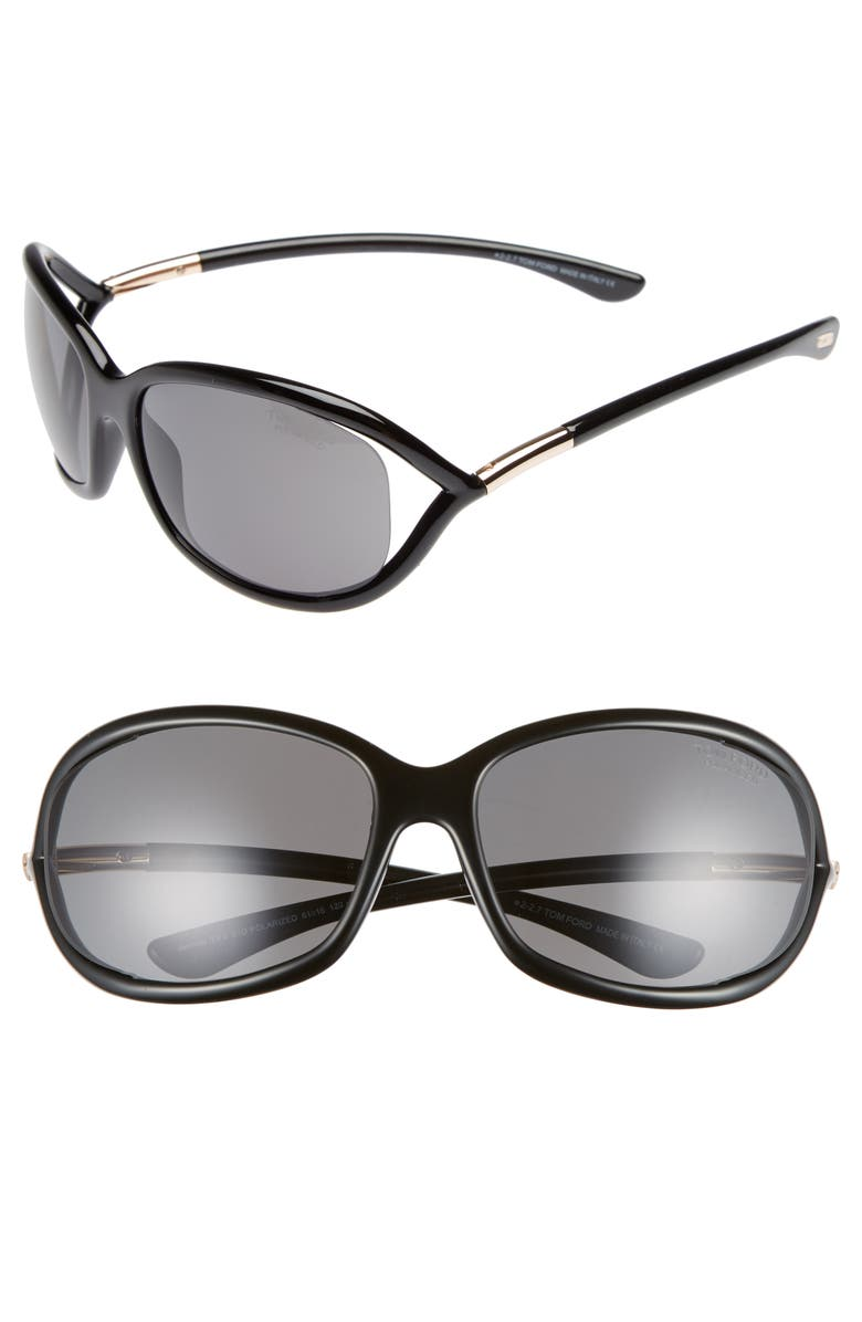 TOM FORD Jennifer 61mm Polarized Open Temple Sunglasses, Main, color, SHINY BLACK/ GREY POLARIZED