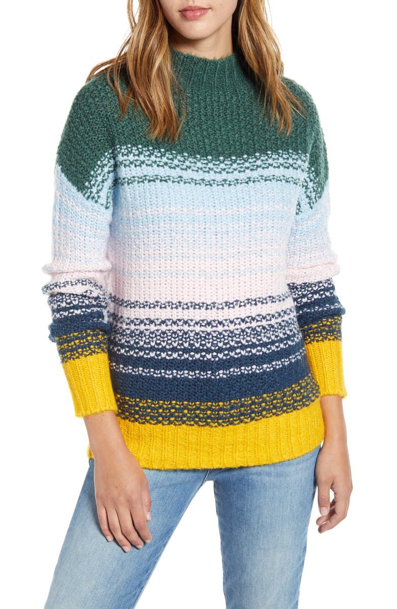 CASLON<SUP>®</SUP> Chunky Knit Sweater, Main, color, BLUE MULTI BLOCK STRIPE