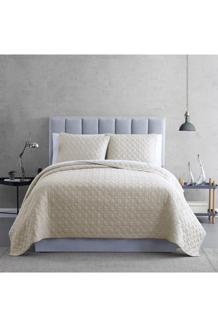 Image of Modern Threads Queen Enzyme Washed Diamond Link Quilted Coverlet 3-Piece Set - Almond