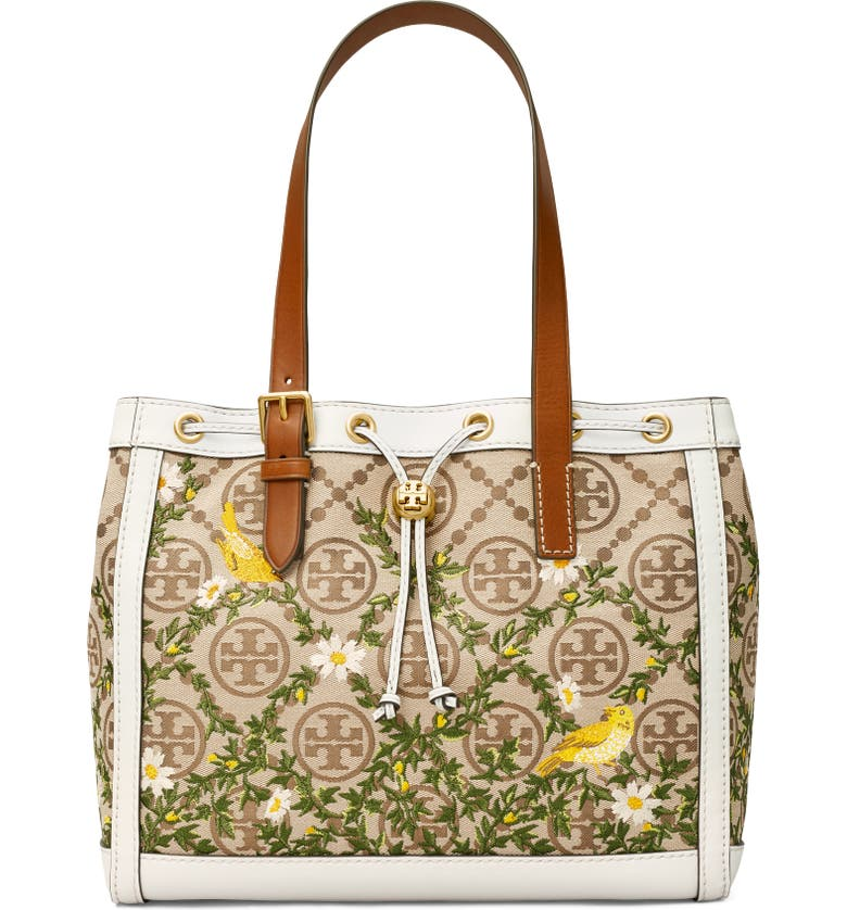 TORY BURCH T Monogram Floral Embroidered Tote, Main, color, HAZEL / GARDENIA