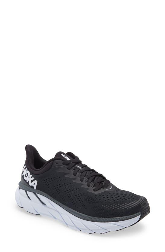 Hoka One One Clifton 7 Running Shoe In Black/white
