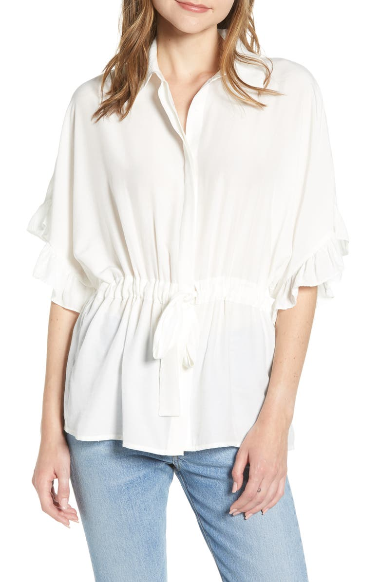 BISHOP + YOUNG Ruffle Sleeve Blouse, Main, color, WHITE
