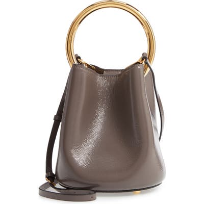 Marni Pannier Top Handle Leather Bucket Bag - Grey