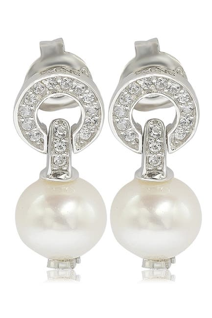 Image of Suzy Levian Sterling Silver 8mm Freshwater Pearl & Created Sapphire Circle Drop Earrings