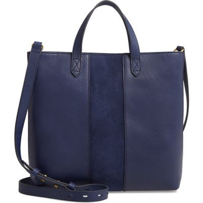 Madewell Small Transport Leather Crossbody Tote - Blue