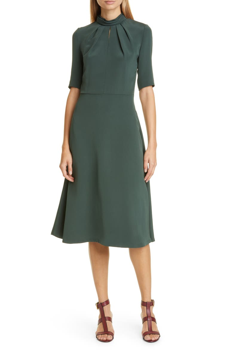 ADAM LIPPES Twist Neck Crepe Midi Dress, Main, color, 303
