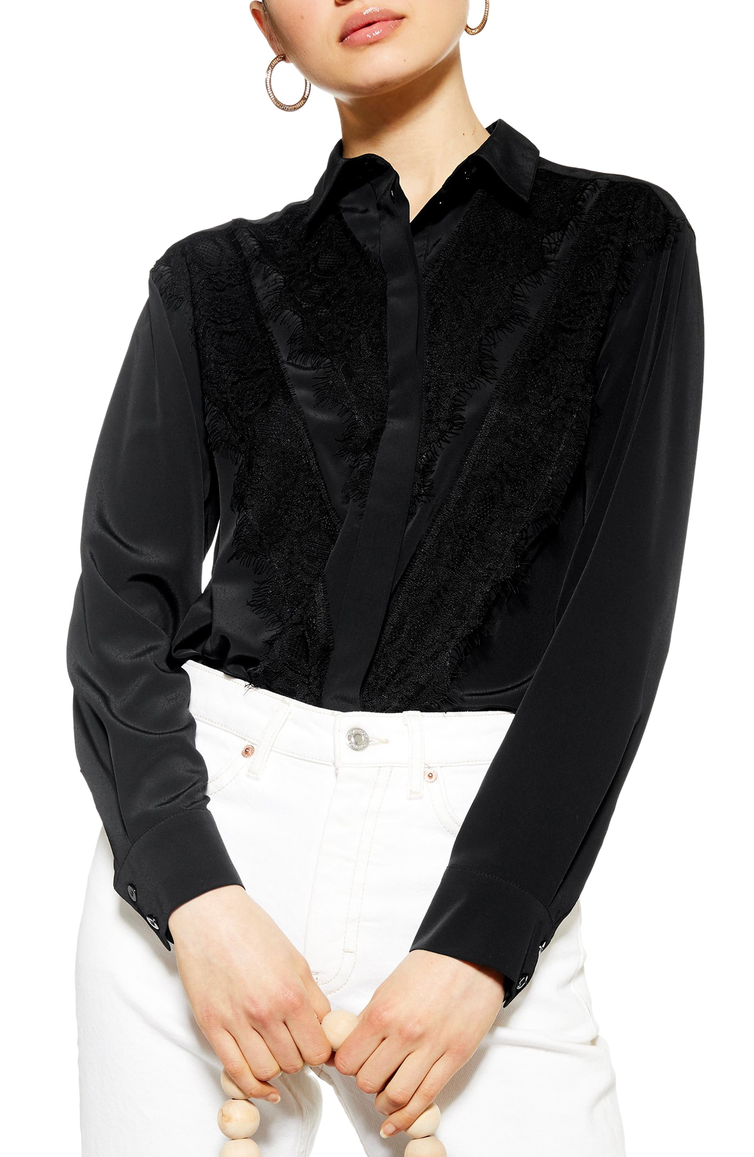 3ff82f0a609099 Edwardian Blouses | White & Black Lace Blouses & Sweaters Womens Topshop Lace  Shirt $68.00 AT