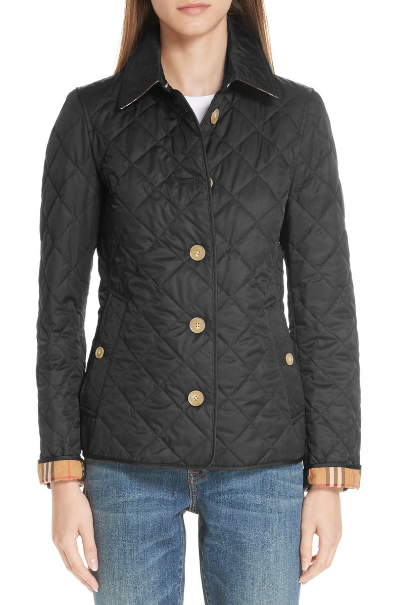 BURBERRY Frankby 18 Quilted Jacket, Main, color, BLACK