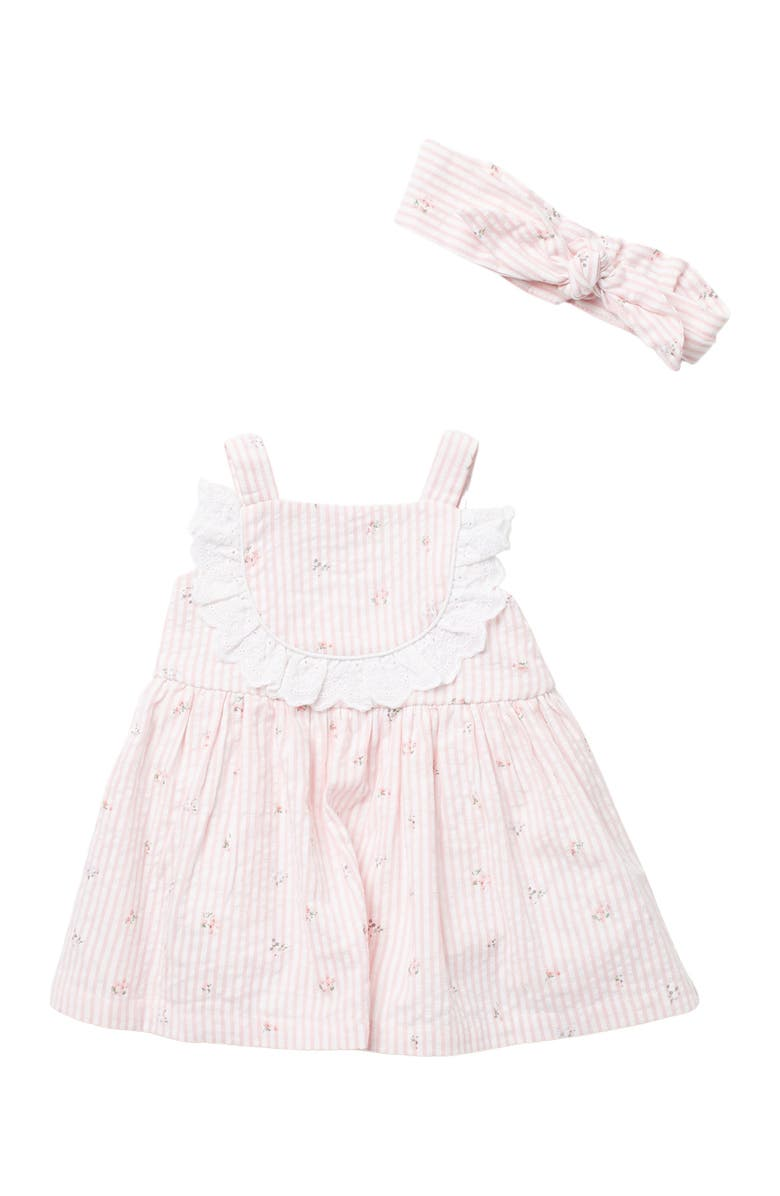PIPPA AND JULIE Ditsy Floral Seersucker Dress & Headband 2-Piece Set, Main, color, PINK/WHITE