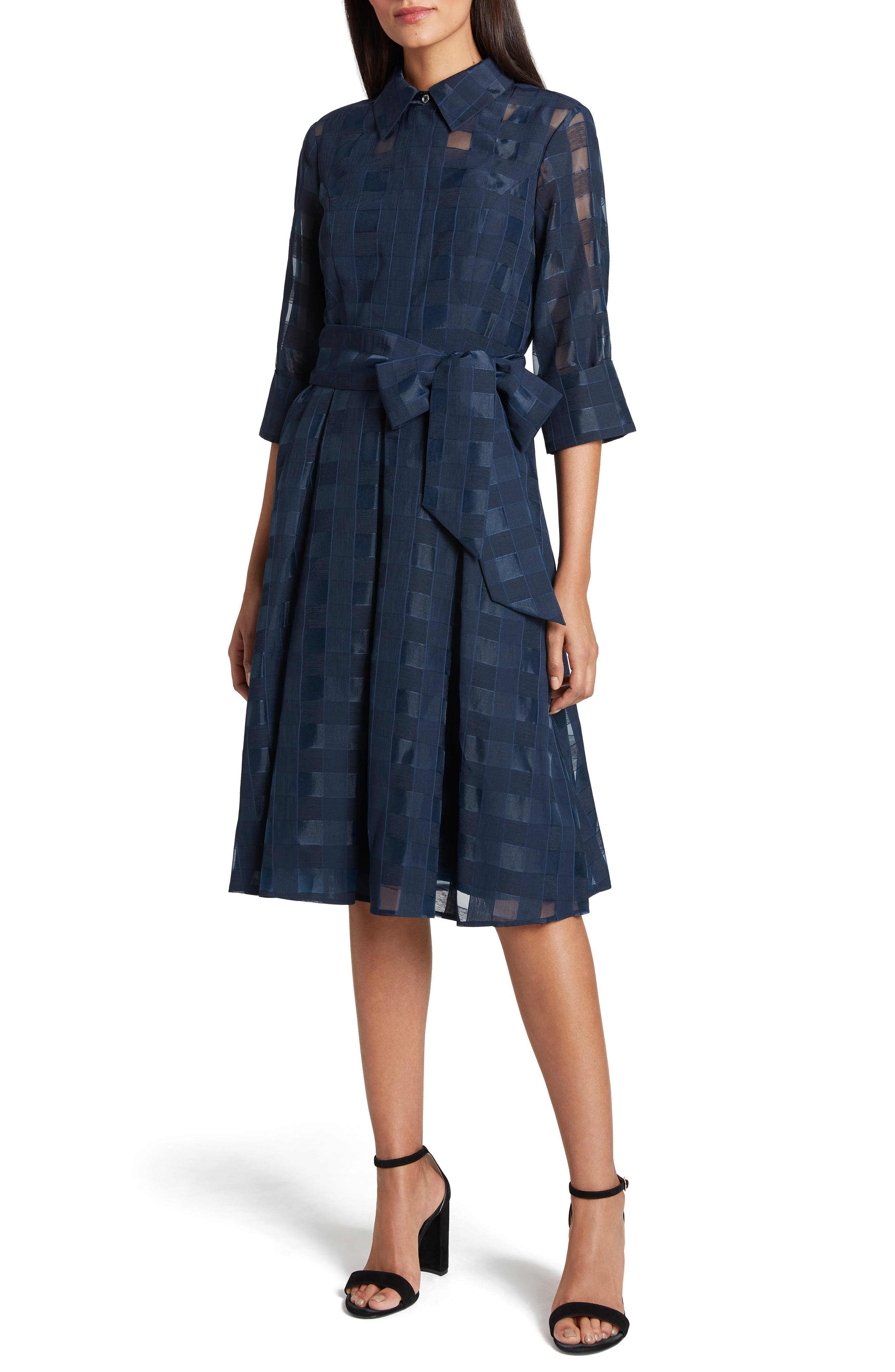 Image of Tahari Check Burnout Organza Dress