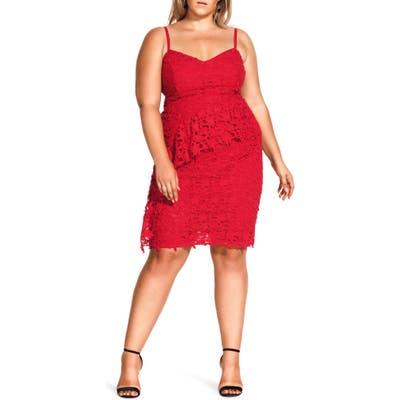Plus Size City Chic Illustrious Cotton Lace Sheath Dress, Red