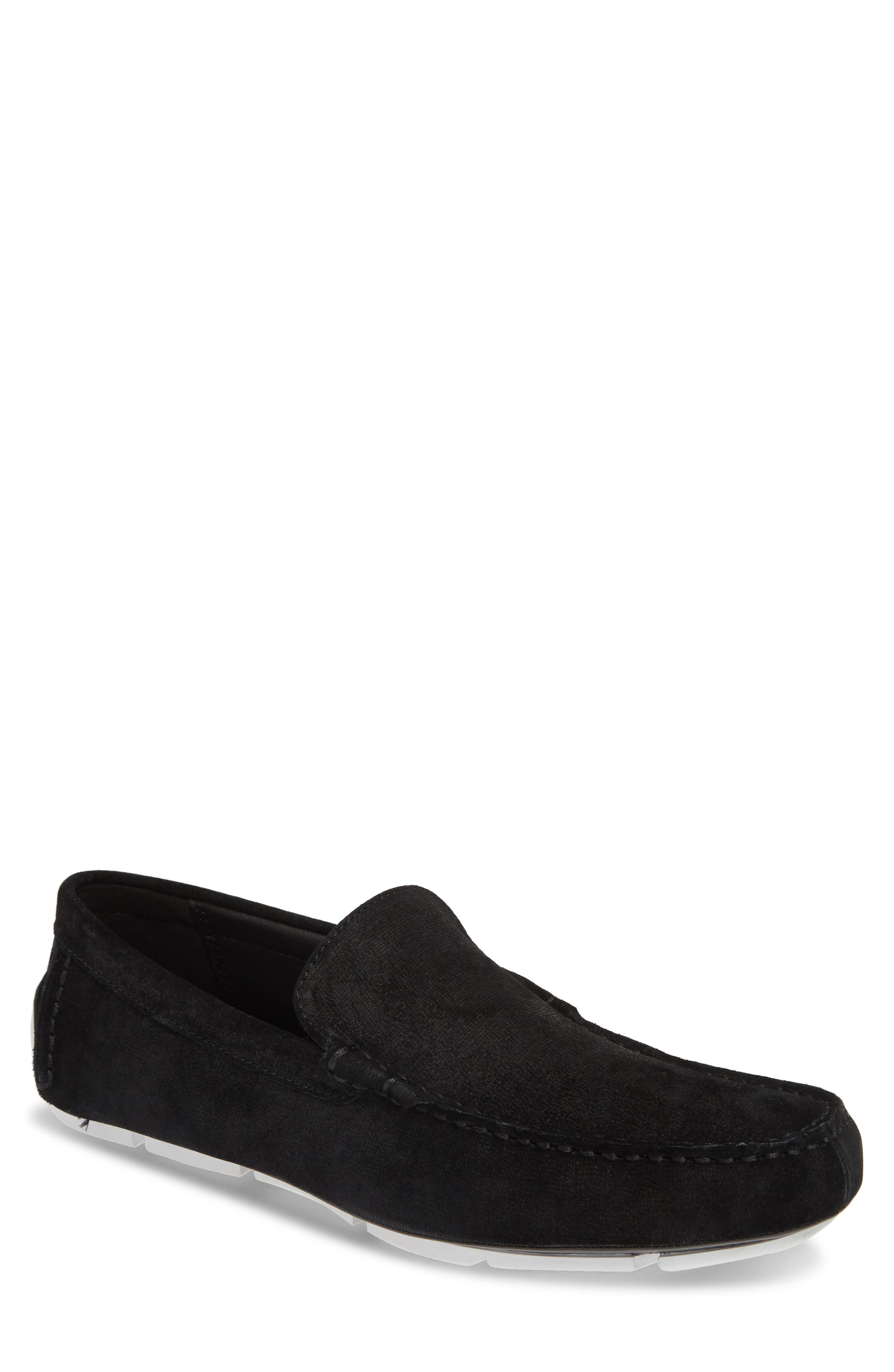 ,                             Kaleb Driving Loafer,                             Main thumbnail 1, color,                             BLACK SUEDE
