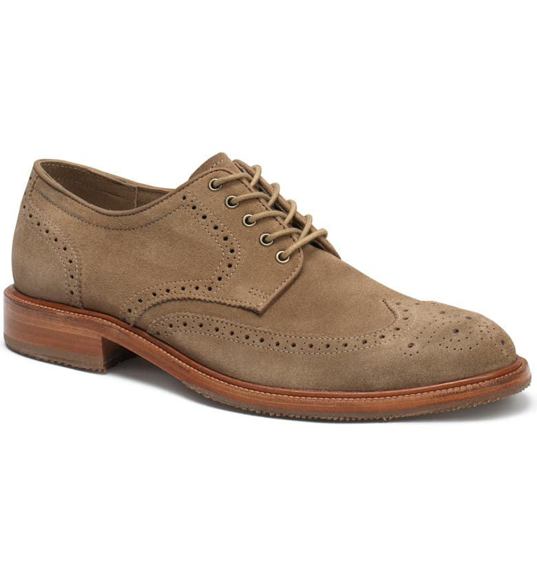 TRASK Logan Wingtip Derby, Main, color, TAUPE SUEDE