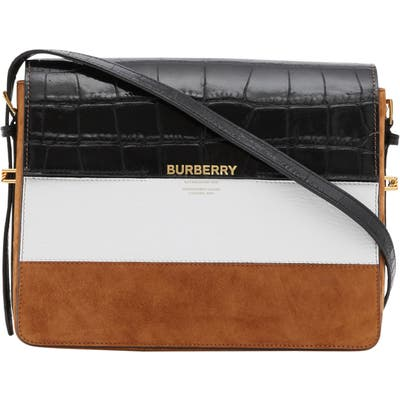 Burberry Large Grace Mixed Leather Shoulder Bag - White