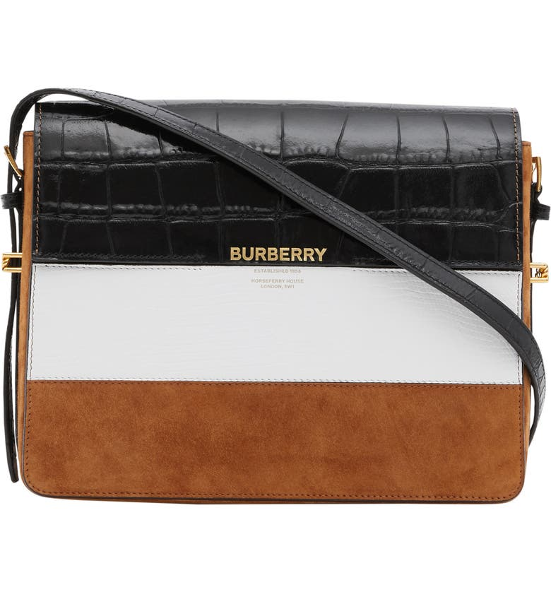 BURBERRY Large Grace Mixed Leather Shoulder Bag, Main, color, 100