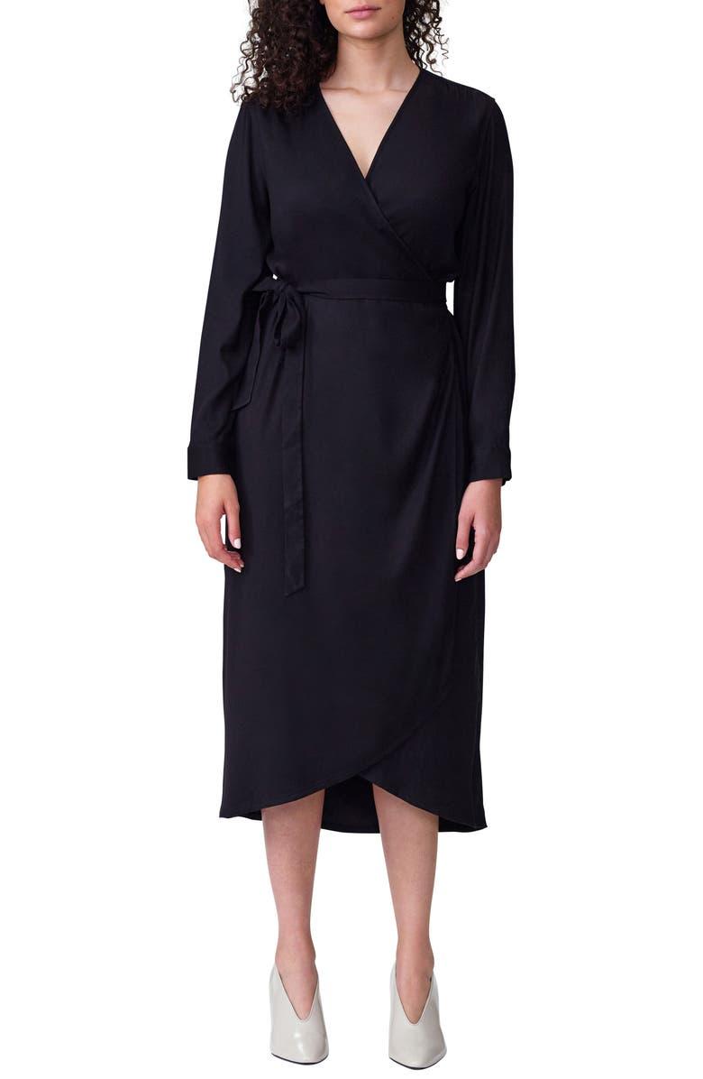 UNIVERSAL STANDARD Rivers Long Sleeve Wrap Dress, Main, color, 001