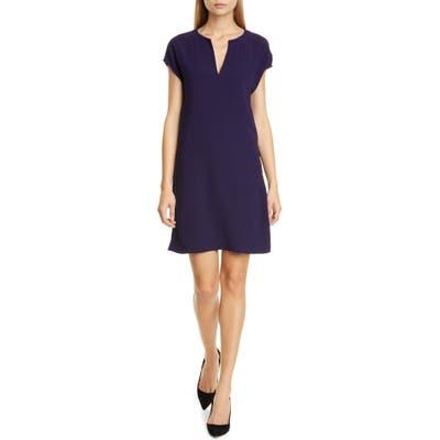 Theory Saturnina Split Neck Shift Dress, Blue