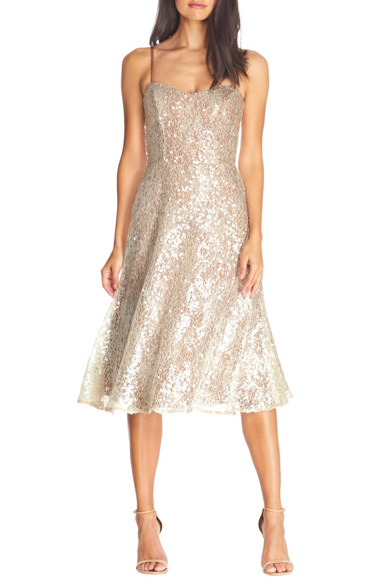 DRESS THE POPULATION Antonia Sequin Lace Fit & Flare Midi Dress, Main, color, OFF WHITE