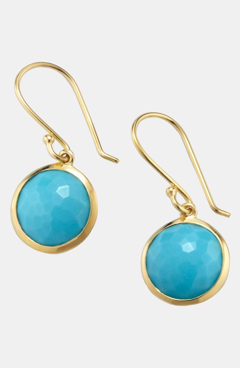 IPPOLITA 'Rock Candy - Mini Lollipop' 18k Gold Drop Earrings, Main, color, YELLOW GOLD/TURQUOISE