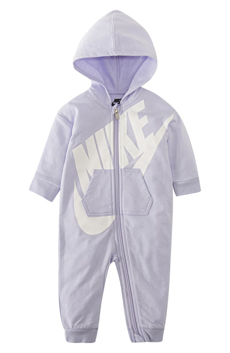 NIKE French Terry Hooded Romper, Main, color, LAVENDER MIST