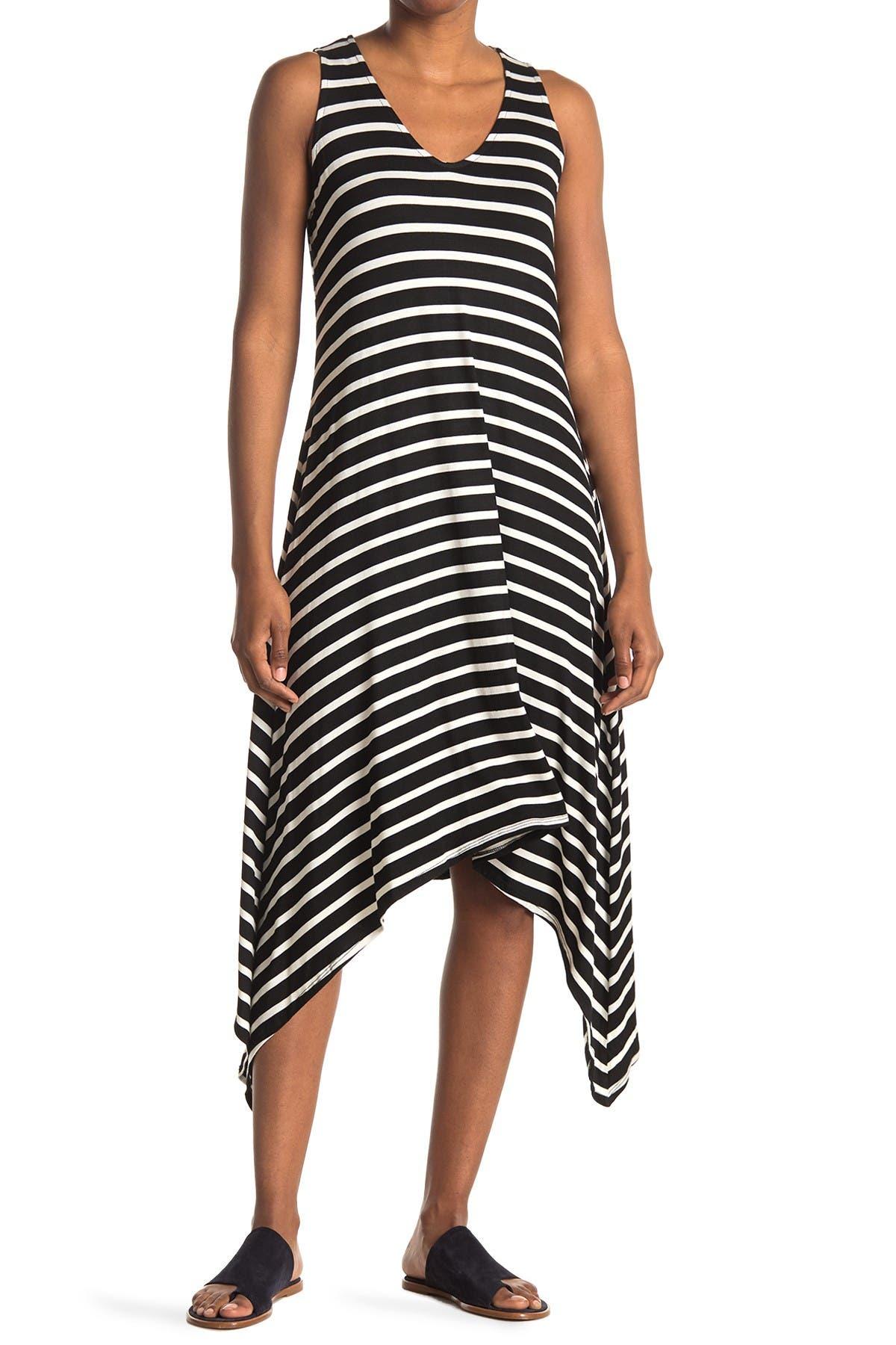 Image of TASH + SOPHIE Striped Sharkbite Midi Dress