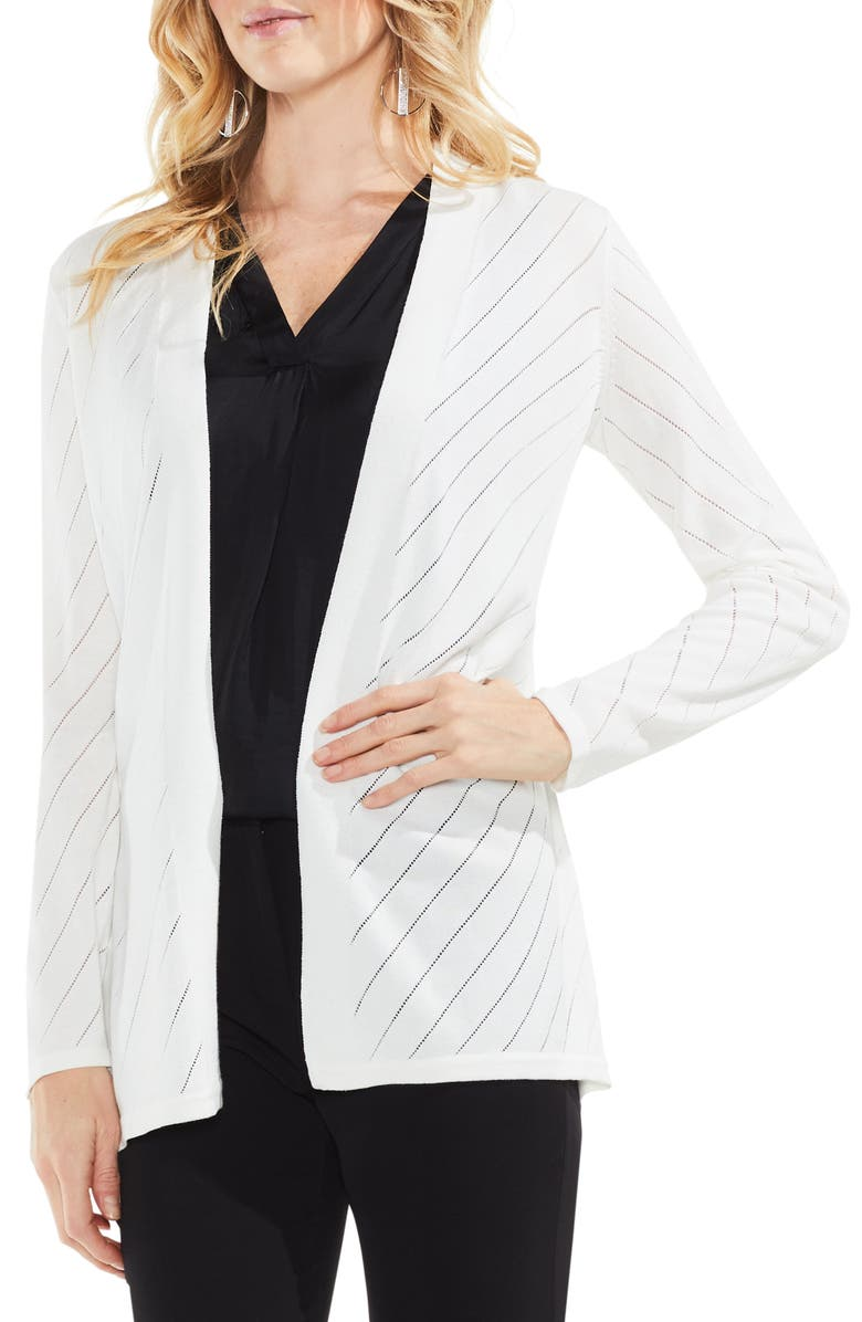 VINCE CAMUTO Open Front Pointelle Cardigan, Main, color, NEW IVORY