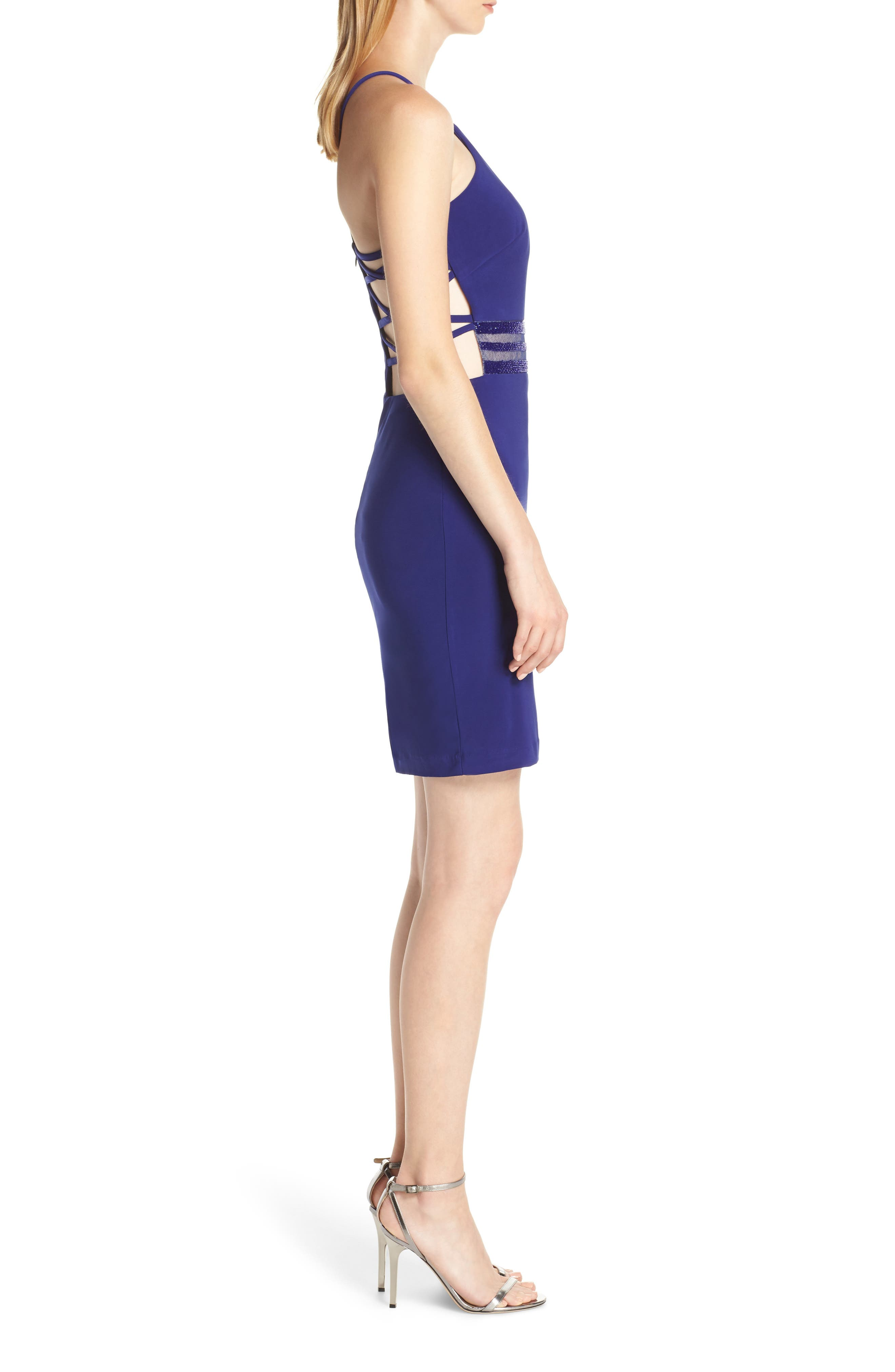 ,                             Strappy Back Cocktail Sheath,                             Alternate thumbnail 4, color,                             ELECTRIC BLUE